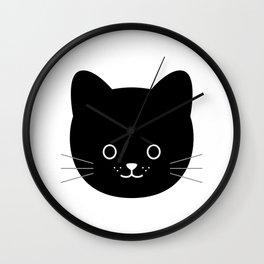 Cat black cute kawaii baby animal Wall Clock