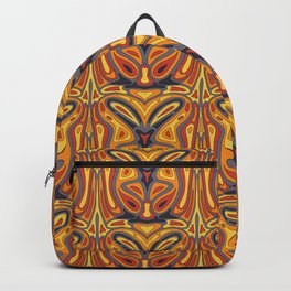 One of a kind abstract repeat design. Eye-catching colours,orange, yellow, grey Backpack