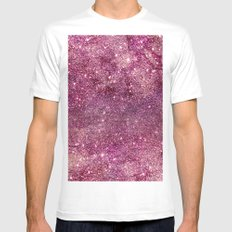 Modern chic faux glitter girly purple pattern MEDIUM Mens Fitted Tee White