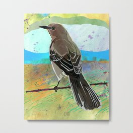 Mockingbird on a Wire Fence - In The Morning Metal Print