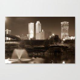 Park View of the Tulsa Skyline Sepia - Oklahoma USA Canvas Print