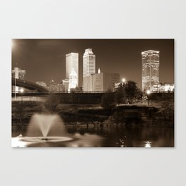 Park View of the Tulsa Skyline Sepia - Oklahoma USA Canvas Print