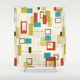 Mid Century Modern, Sputnik Pattern Shower Curtain