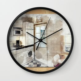 interior sketch of kitchen Wall Clock