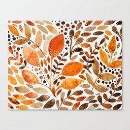 Autumn watercolor leaves Canvas Print