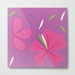 Flora and Fauna on bright purple Metal Print