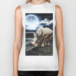 Rhino under the Moon Biker Tank
