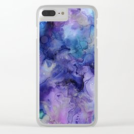 Abstract Watercolor Coastal, Indigo, Blue, Purple Clear iPhone Case