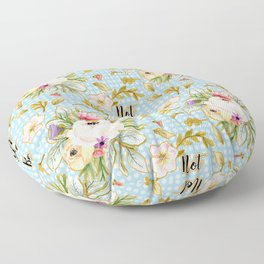 Not Your Babe - Floral Print on Polka Dots Floor Pillow