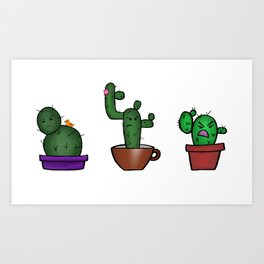 Cranky Cactus Trio Art Print