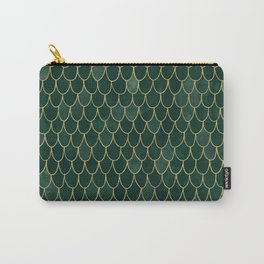 Mermaid Fin Pattern // Emerald Green Gold Glittery Scale Watercolor Bedspread Home Decor Carry-All Pouch