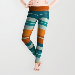 Summer Stripes Horizontal Pattern in Orange, Rust, Teal, Aqua, and Turquoise Leggings