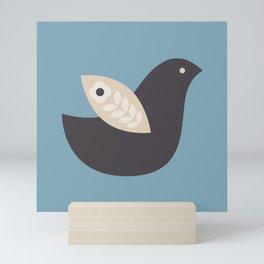 Blue and gray Scandinavian Bird // Folk Art Bird // Blue Bird Mini Art Print