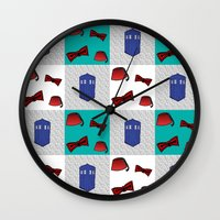 fez Wall Clocks featuring Red  & Teal Fez & Bow Tie Quilt Blocks by Bohemian Bear by Kristi Duggins