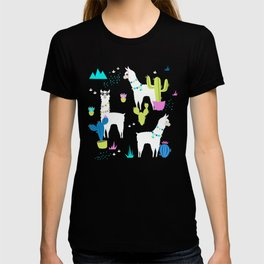 Desert Llamas on Blue T-shirt