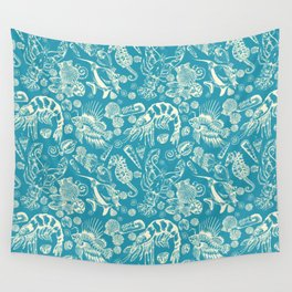 Sea Critters with Blue Background Wall Tapestry