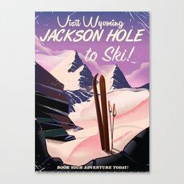 Jackson Hole Wyoming vintage ski poster Canvas Print