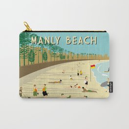 Manly Beach Retro Art Print Carry-All Pouch