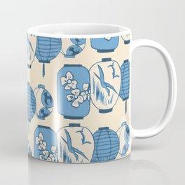 Vintage Chinese Lantern Illustration Pattern (BLUE) Coffee Mug