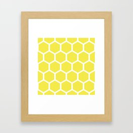 Honeycomb pattern - lemon yellow Framed Art Print