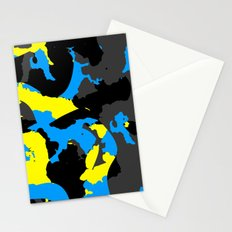 Black Blue yellow and Gray Abstract Stationery Cards