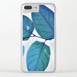 blue leaves pattern Clear iPhone Case