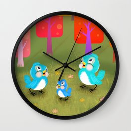 Happy Little Bluebirds Sing Their Song Wall Clock