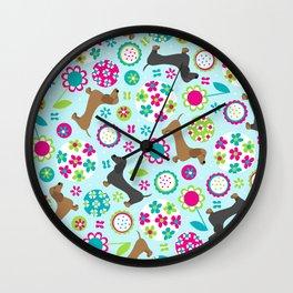 Dachshund Garden Party Wall Clock