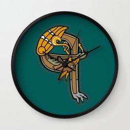Celtic Medieval Griffin Letter Q Wall Clock