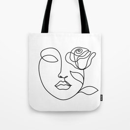 Beauty woman face with rose. Abstract minimal fine art. One line drawing. Tote Bag