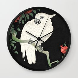 Cockatoo and Pomegranate by Ohara Koson (1877-1945) Wall Clock