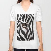 stripe V-neck T-shirts featuring Stripe by nigel3