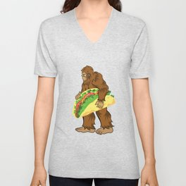 Bigfoot Carrying A Taco Cinco De Mayo design Unisex V-Neck