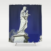 madonna Shower Curtains featuring Infrared madonna and child statue by Bonnie Phantasm
