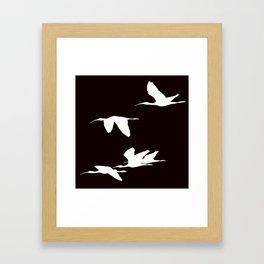 White Silhouette of Glossy Ibises In Flight Framed Art Print