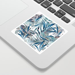 Floral fashion tropical vector pattern with palm leaves in watercolor style Sticker