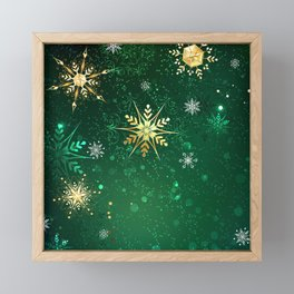 Gold Snowflakes on a Green Background Framed Mini Art Print