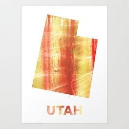 Utah map outline Red Yellow colorful watercolor texture Art Print