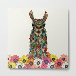 llama daisy love chalk Metal Print
