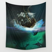 kraken Wall Tapestries featuring Kraken Attack by FantasyArtDesigns
