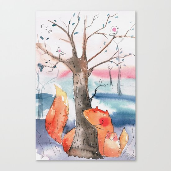 Spring foxes Canvas Print