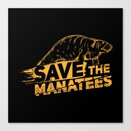 Save The Manatees I - Nature & Wildlife Gift Canvas Print