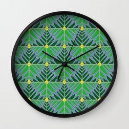 Crystal Leaves Green Wall Clock