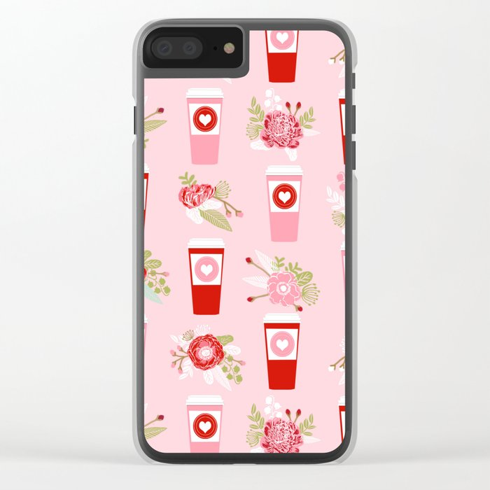 Coffee valentines day florals cute coffee lovers gifts that say i love you Clear iPhone Case