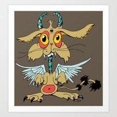 Evil Flying Feline Jackalope  Art Print