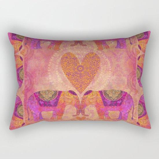 Elephants in Love heart illustration Rectangular Pillow