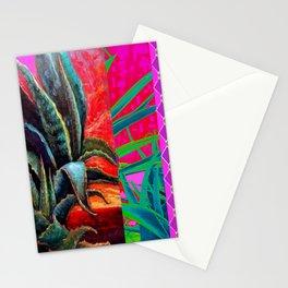 WESTERN BLUE AGAVE CACTUS DESERT  PURPLE ART Stationery Cards