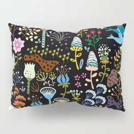 Seamless pattern with bright multicolored decorative flowers on a black background Pillow Sham
