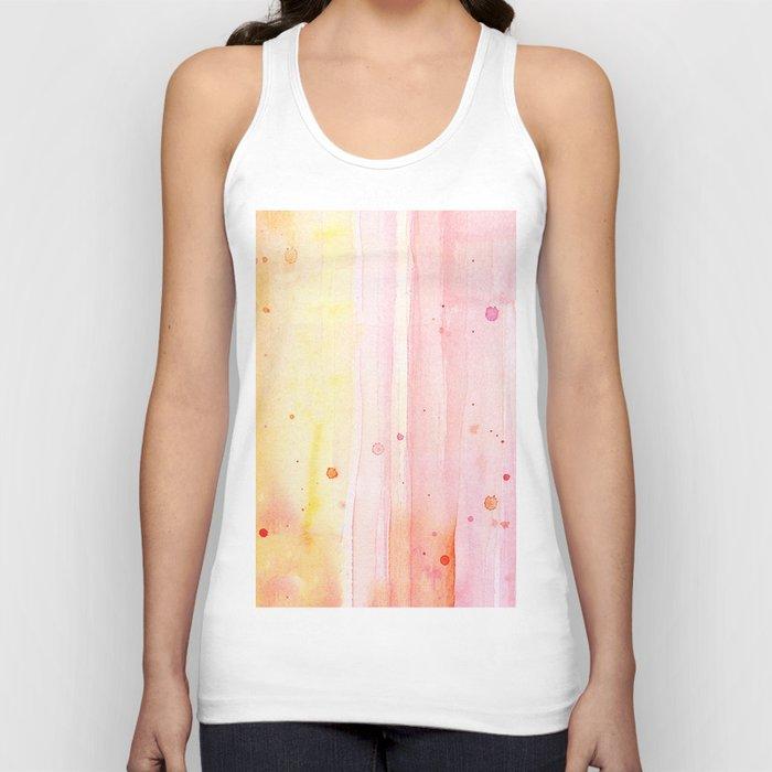 Pink Orange Rain Watercolor Texture Splatters Unisex Tank Top