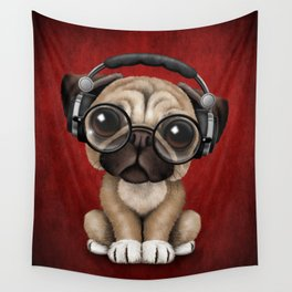 Cute Pug Puppy Dj Wearing Headphones and Glasses on Red Wall Tapestry